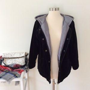 Vintage Black Soft Plush Hooded Coat